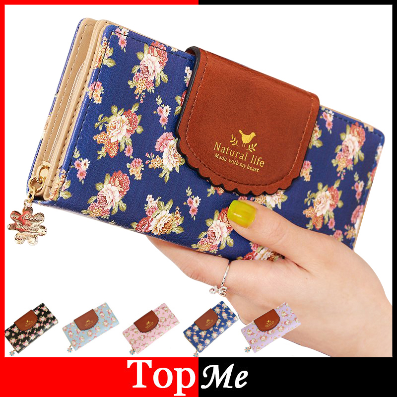 Fashion Women Wallets Flower Pattern Hasp Zipper Clutch Lady Handbags Coin Purse Money Bag Card Holder Brand Woman Wallet Burse fashion women coin purse lady vintage flower small wallet girl ladies handbag mini clutch women s purse female pouch money bag