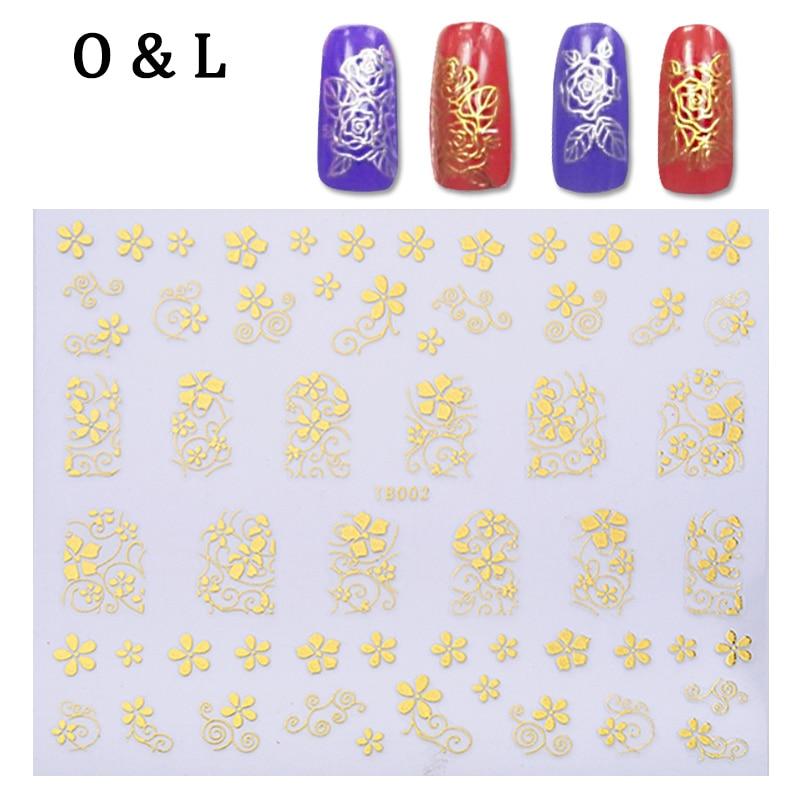 1pcs God Silver 3d font b Nail b font Art Stickers Flowers Butterfly Design Adhesive font