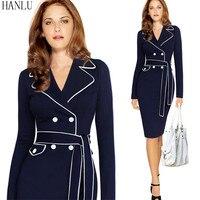 HANLU Autumn Dress Elegant Long Sleeve Dress Plus Size 4XL Suit Collar Contrast Color Pencil Work