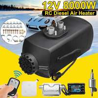 12V 8KW 8000W Car Heater Diesels Air Parking Heater w/Remote Control Silencer LCD Monitor Tank for Trucks Bus Trailer Motorhome