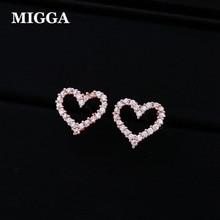 Miga brincos de coração de cristal de zircônia, brincos femininos e meninas clássicos de presente em ouro rosado