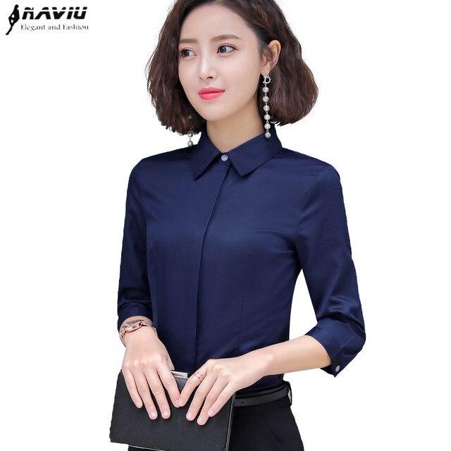 Formal algodão camisa feminina moda ol magro meia manga blusa 2019 verão nova carreira de negócios escritório senhoras trabalho mais tamanho topos
