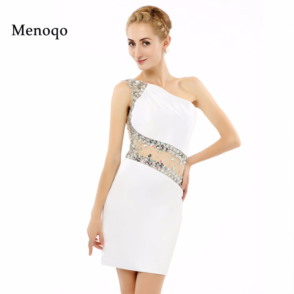 robe de   cocktail   Real Photo White Beaded Special occasions   Dresses   Short Party Wear one shoulder 2018 sexy   cocktail     dress