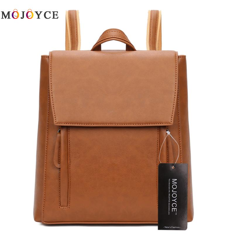 Simple Style Backpack Women PU Leather Backpacks For Teenage Girls School Bags Fashion Vintage Solid Shoulder Bag Black XA568H