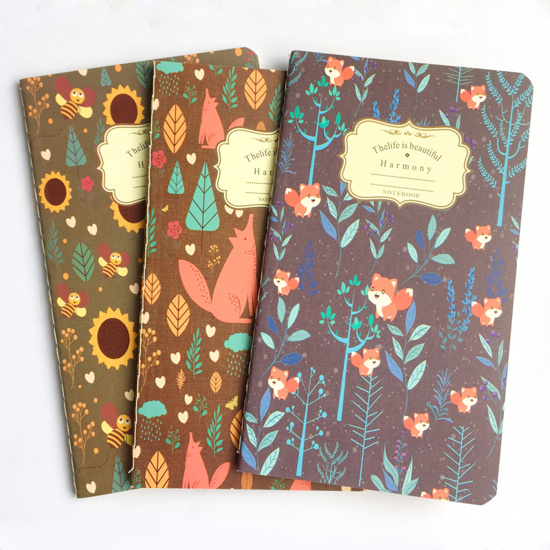Forest Fox Bee Blank Kraft Paper Notebook Recite Words Learn Foreign Language Planner Student School Office Supply