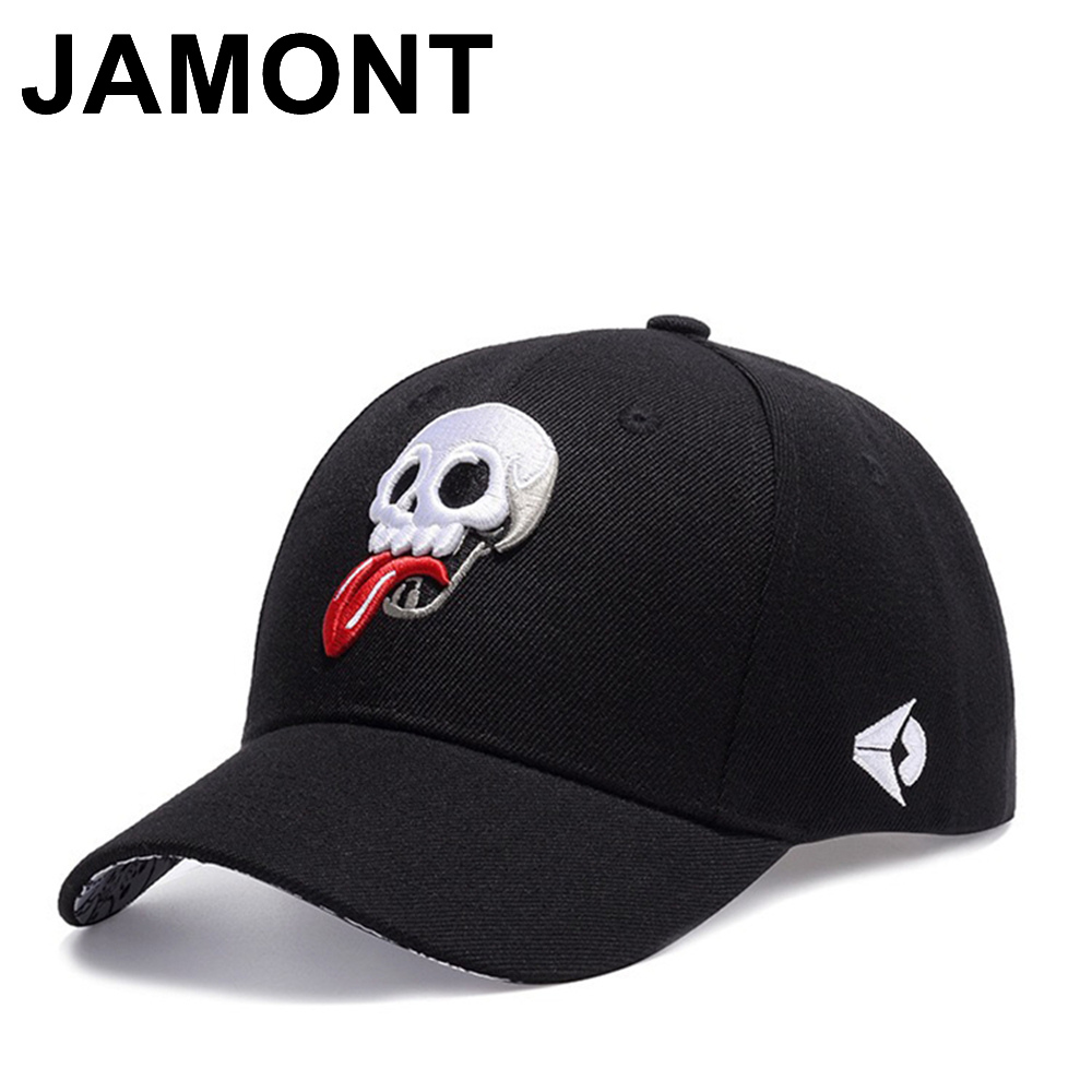 2a44396d884 Jamont Men Women Funny Skull Embroidery Baseball Cap Casual Adjustable  Casquette Golf Hats Curved Visor Hip Hop Snapback Caps
