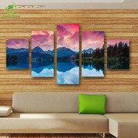 5 패널 프레임이없는 풍경 산 강 캔버스 유화 벽 예술 그림 홈 장식 거실