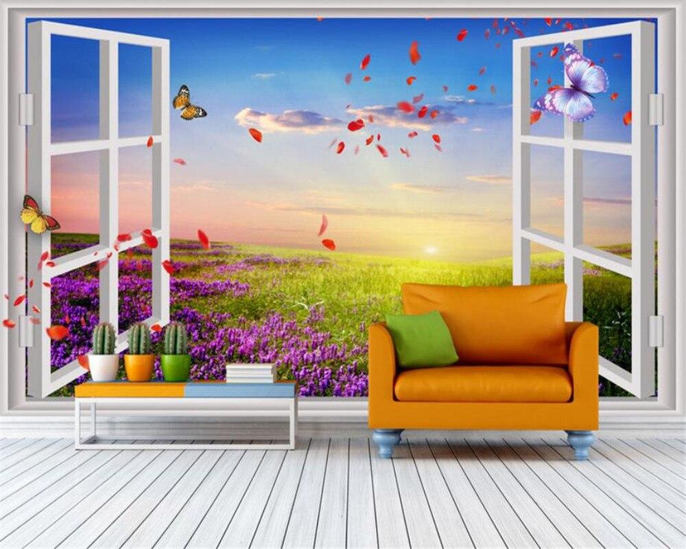 Wall paper customize Romantic 3D Window Outside Lavender Backdrop photo papel de parede 3d wallpaper mural tapeten beibehang world outside the window paper