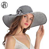 FS האופנה הקיץ גדול ברים תקליטונים קש חוף שמש כובע לנשים רוז פרח כובעי מצחיית כובע קש מתקפל נשי