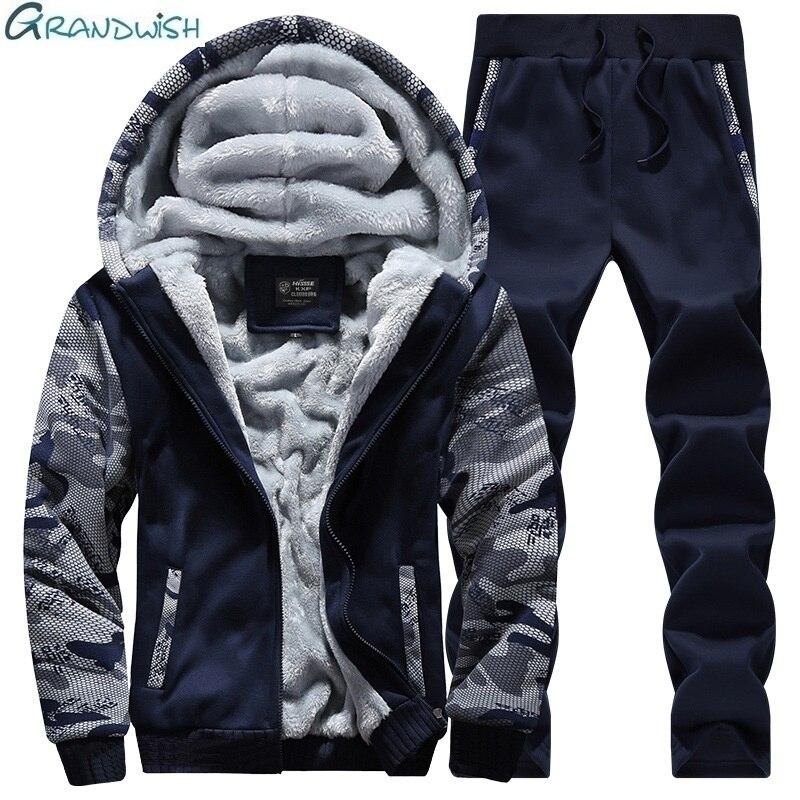 Grandwish Winter Tracksuits Men Set Thicken Hoodies + Pants Suit Spring Sweatshirt Sportswear Set Male Hoodie Sporting, GA119