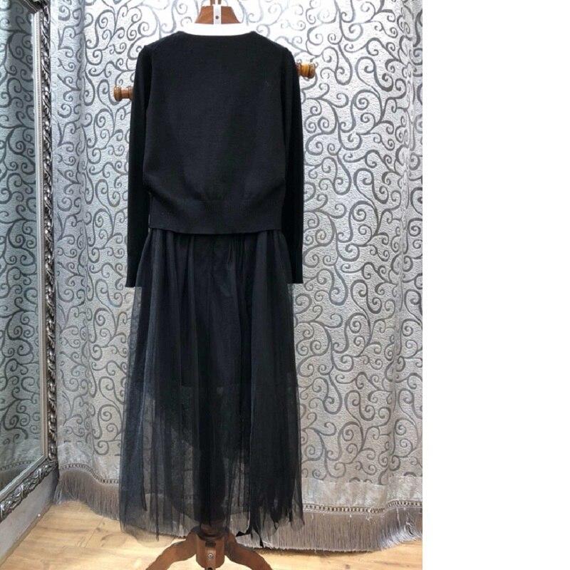 Grade Pièces Patchwork Et Haut Designer Longueur mollet Ensembles Maxi Jupe Deux Vêtements Chandail Arc Tricoté Cardigan Costume Femmes Mi Fqfwqd