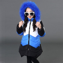 Teenage Girls 2018 New Winter Children Werm Thick Outerwear Coats  5 7 9 11 13 Years Girls Casual Hooded Fur Collar Down Jackets цена