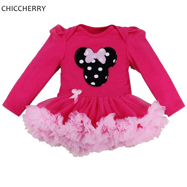 52c0077bcb3e Hot Pink Minnie Birthday Tutu Outfits Cotton Infant Lace Tutus Toddler Romper  Dress Fantasia Para Bebe