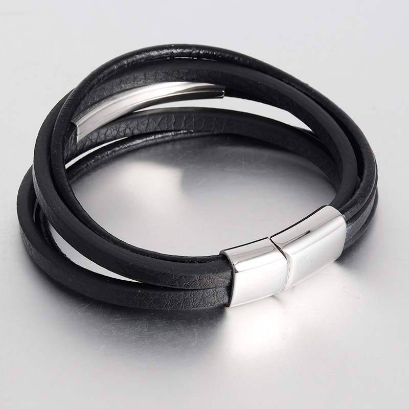 NAIQUBE Leather Bracelet Men 2020 fashion Stainless Steel Clasp Luxury Genuine Leather Charm Bracelet For Men Jewelry Gift