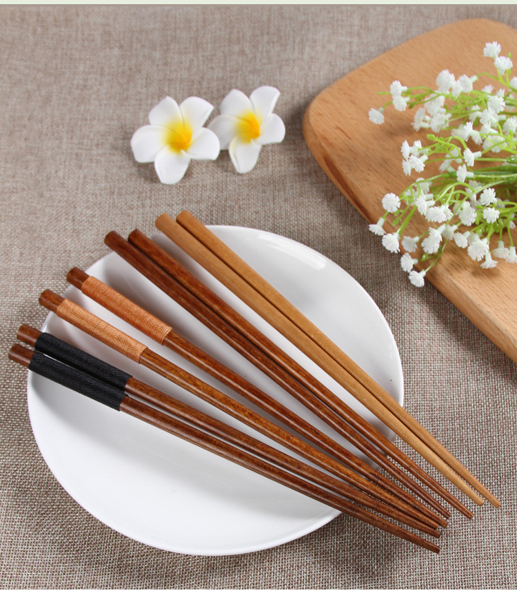 2pairs/lot 22.5cm Handmade Japanese Natural Chestnut Wood Chopsticks Set Value Pack Gift Cooking Tableware Durable Mf 011 Home & Garden