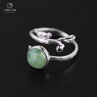 Lotus Fun Real 925 Sterling Silver Open Ring Women Natural Green Beryl Stone Handmade Designer Bird Resizable Band Fine Jewelry