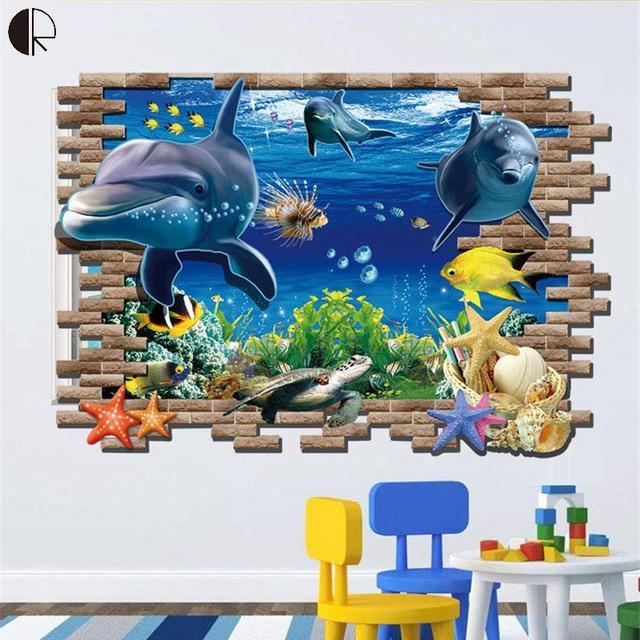 Us 1338 Ocean World Kreatywne 3d Diy Naklejki ścienne Dla Dzieci Dla Dzieci Pokój Fajne Naklejka ścienne Plakaty Dla Pokoju Home Decoration Art