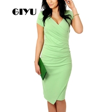 GIYU Wrap Women Dress Solid Office Lady Dresses Short Sleeve Ruched Vestido Sexy Skinny Empire  robe femme giyu women shirt dress with sash turn down collar dresses pocket vestido casual office lady empire robe femme