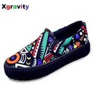 Female Autumn Graffiti Woman Flat Shoes Elegant Comfortable Lady Casual Woman Canvas Shoes Leisure Woman S