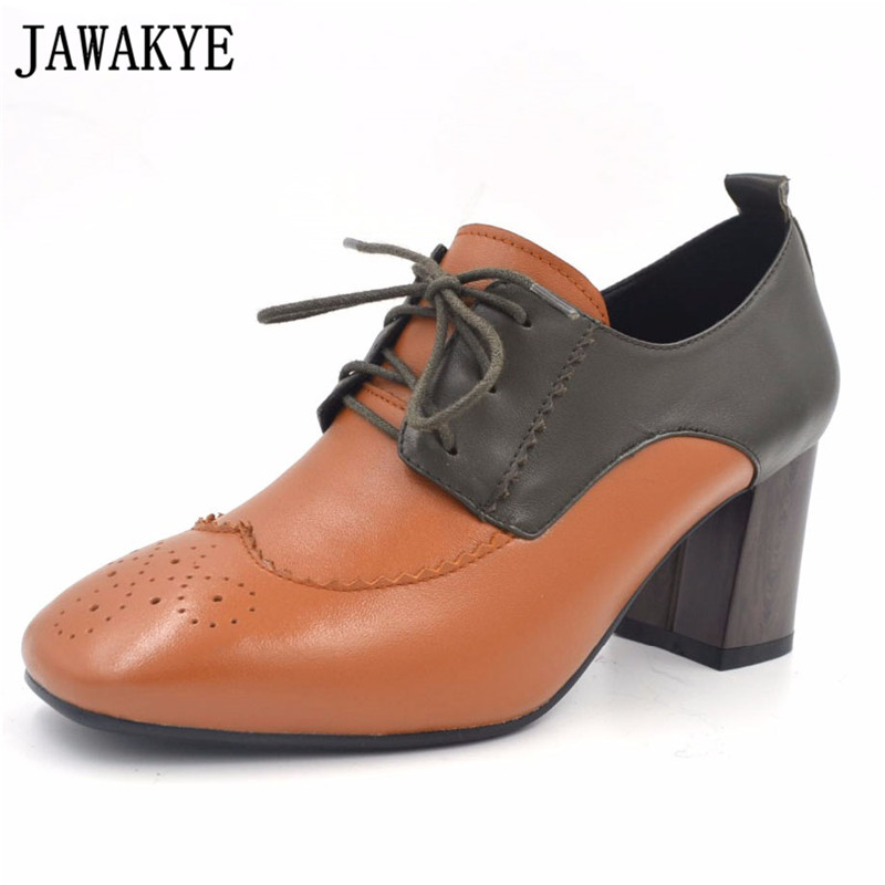 JAWAKYE Spring autumn brown black real leather fretwork gladiator chunky high heels lady pumps square toe lace up shoes women