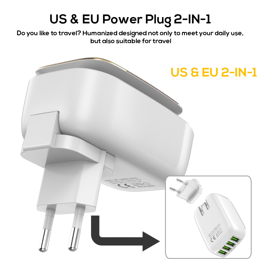 Image 3 - TOPK 4 Port EU/US/UK/AU Plug 22W USB Charger LED Lamp Auto ID Travel Wall Adapter Universal Mobile Phone Charger-in Mobile Phone Chargers from Cellphones & Telecommunications