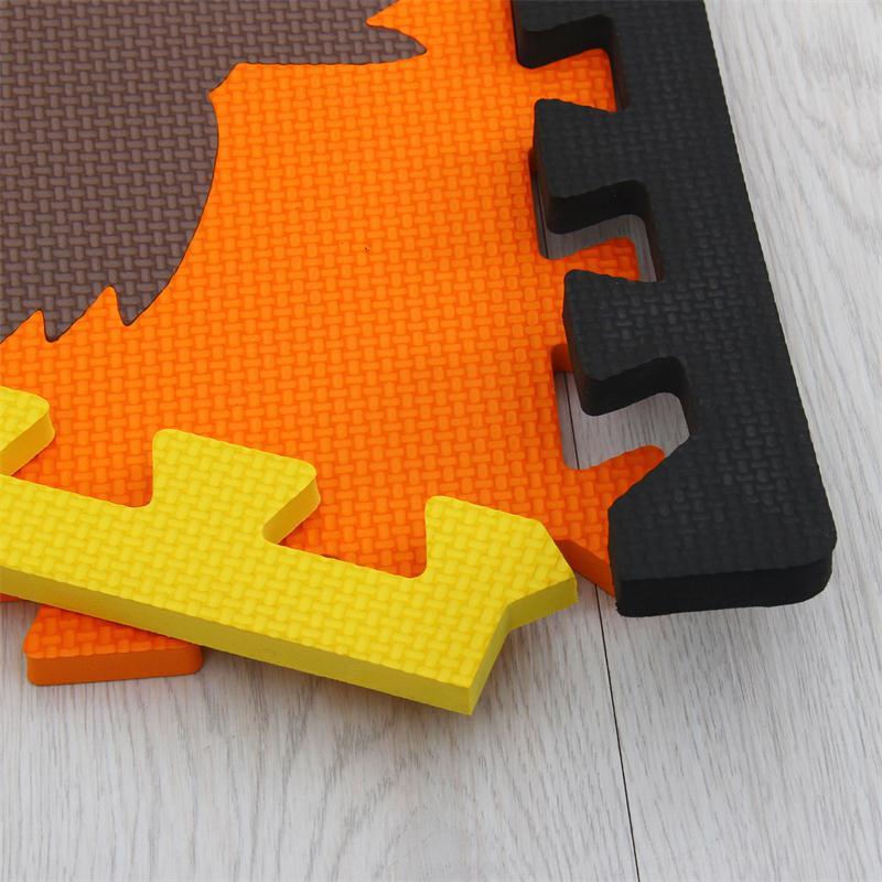 Meiqicool tapis de Puzzle de jeu en mousse EVA bébé 16 pièces, tapis et tapis de sol à emboîtement noir et blanc, tapis 16 carreaux pour kis. Bord libre. - 6