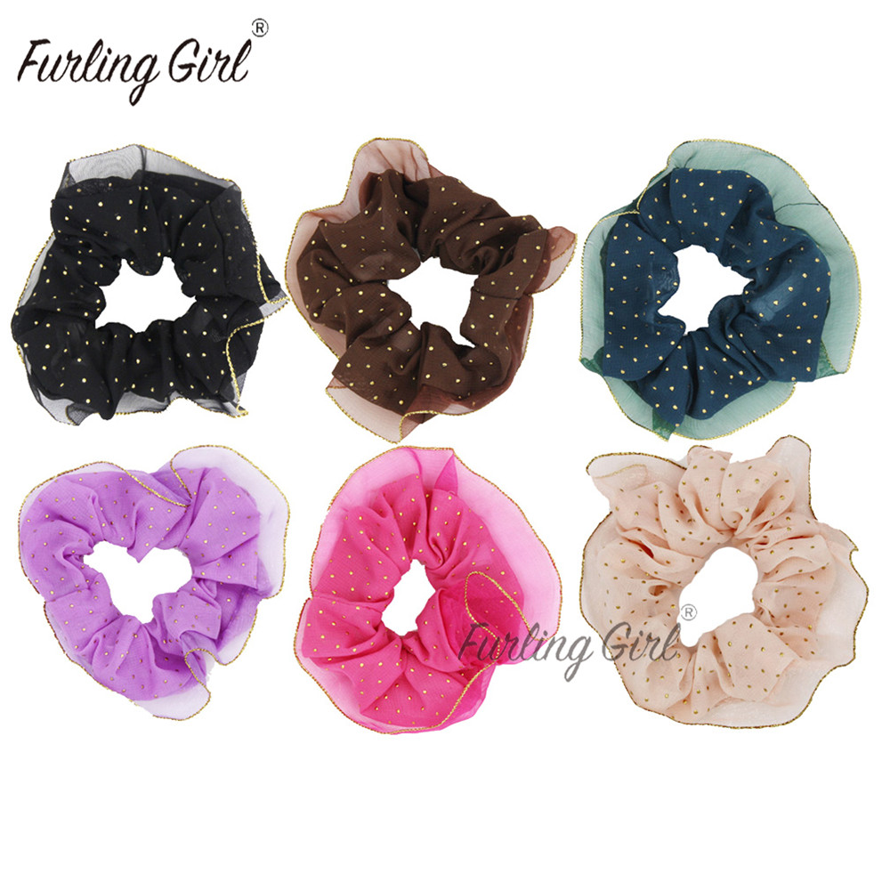 scrunchie in bright green or purple net design with coloured edging new