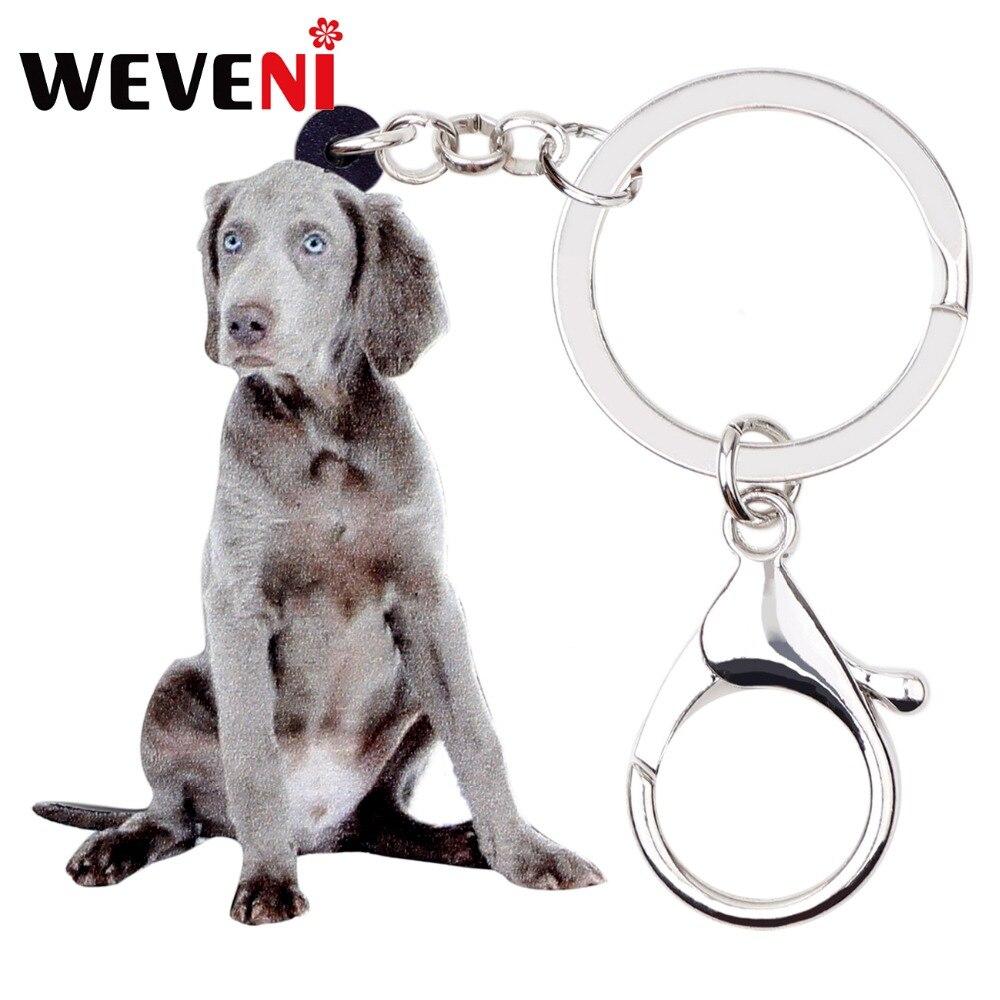 Weimaraner Dog Image Black Leather Keyring in Gift Box