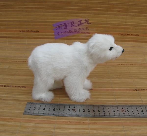 cute simulation white polar bear toy resin fur polar bear doll gift about 20x7x14cm
