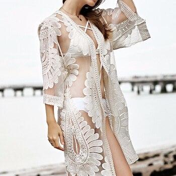 2018 Nowa Szata Poślizgu Bodie Koronki Bikini Dla kobiet Sukienka lato Luźne Cover Up Haft Stroje Kąpielowe Kąpiel Plage Plaży Domu garnitur