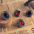 ES241  Black Red Stud Earrings Retro Antique Gold Plated Earing Fashion Jewelry For Women Brincos High Quality