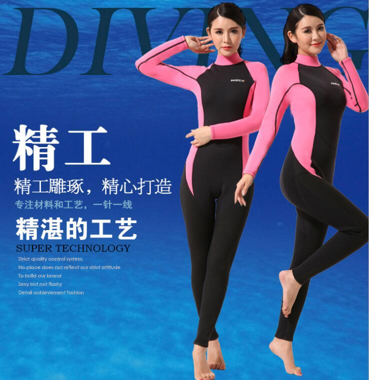 Women Neoprene Scuba Diving Suit Winter Warm Swimming Suit Snorkling Surfing Swimwear Wetsuit 2016 Pink