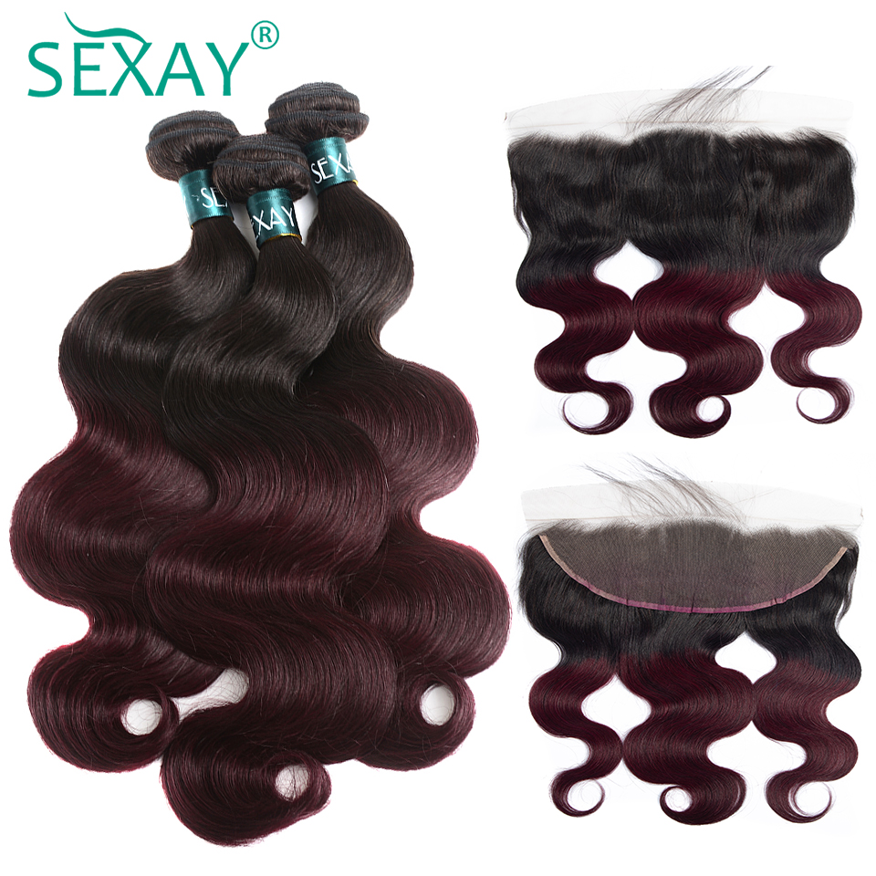 Burgundy Ombre Bundles With Frontal SEXAY Brazilian Body Wave With Ear To Ear Frontal Closures Pre Plucked Non Remy Human Hair