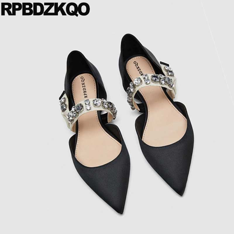 68b3f8ae9723 ... Flats Summer Women Dress Shoes Wedding Sandals Satin Designer Black  Rhinestone Silk Mary Jane Italian 2018