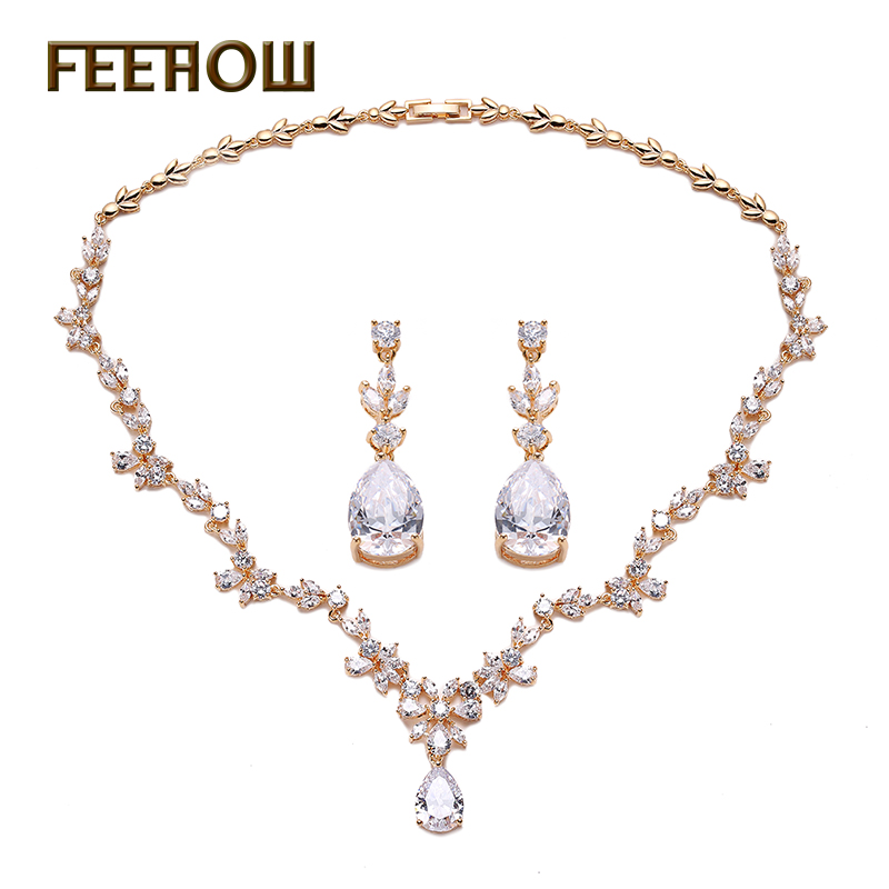 FEEHOW Fashion Wedding Costume Accessories Jewelry Sets Cubic Zircon Crystal Bridal Earrings And Necklace For Brides FWSP010