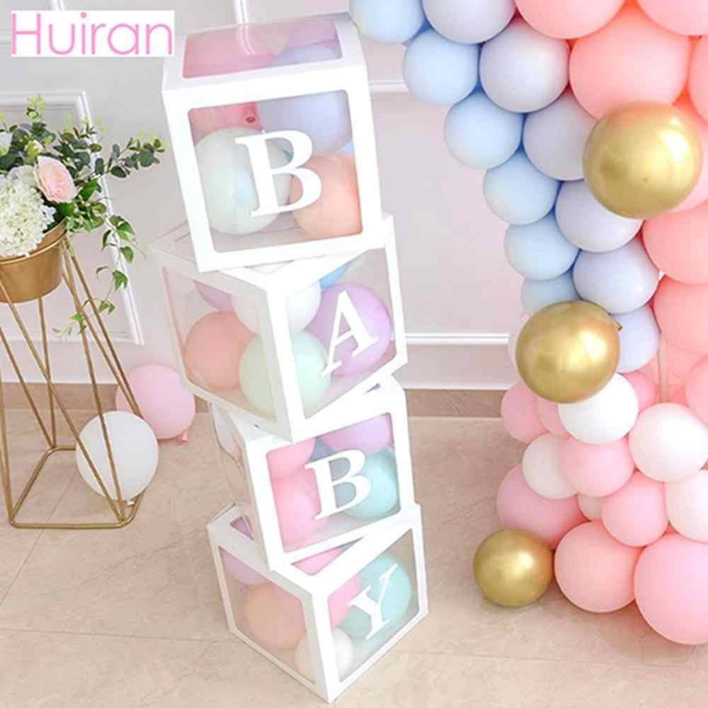 HUIRAN Transparan Usia Nama Box Gadis Anak Laki-laki Bayi Shower Dekorasi Bayi 2 1st 1 Satu Ulang Tahun Pesta Dekorasi Hadiah Babyshower perlengkapan