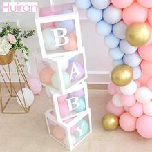 HUIRAN Transparent Box Baby Shower Girl Boy Decorations 1 One year 1st first  Birthday Party Decor Favors Gifts Babyshower