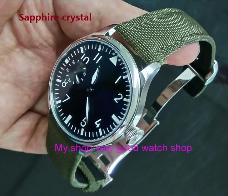 Sapphire crystal 44mm PARNIS black dial Asian 6497 Hand Wind movement green Luminous mens watches sd343ASapphire crystal 44mm PARNIS black dial Asian 6497 Hand Wind movement green Luminous mens watches sd343A