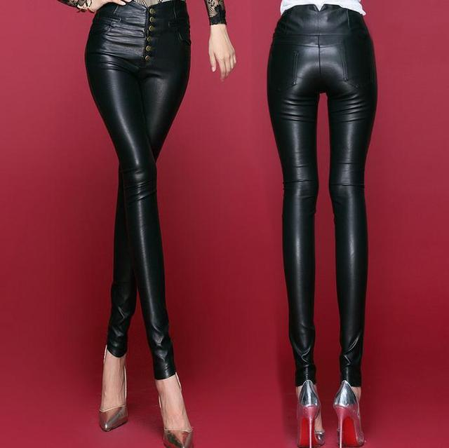 new single-breasted waist autumn and winter washed leather pants leggings thin women pu leather pants feet trousers