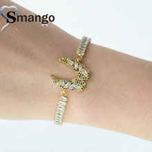New Arrival!  Women Fashion Wing Shape Connectors CZ Prong Setting Bracelet,Two Plating Colors,Can Mix 5Pieces