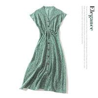 100% silk green women summer dress