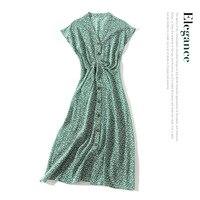 100% шелковое зеленое женское летнее платье