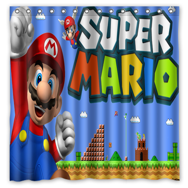 Polyester Fabric Bath Shower Curtain Super Mario Waterproof Bathroom Decorative Curtains 180x180cm With White Hooks