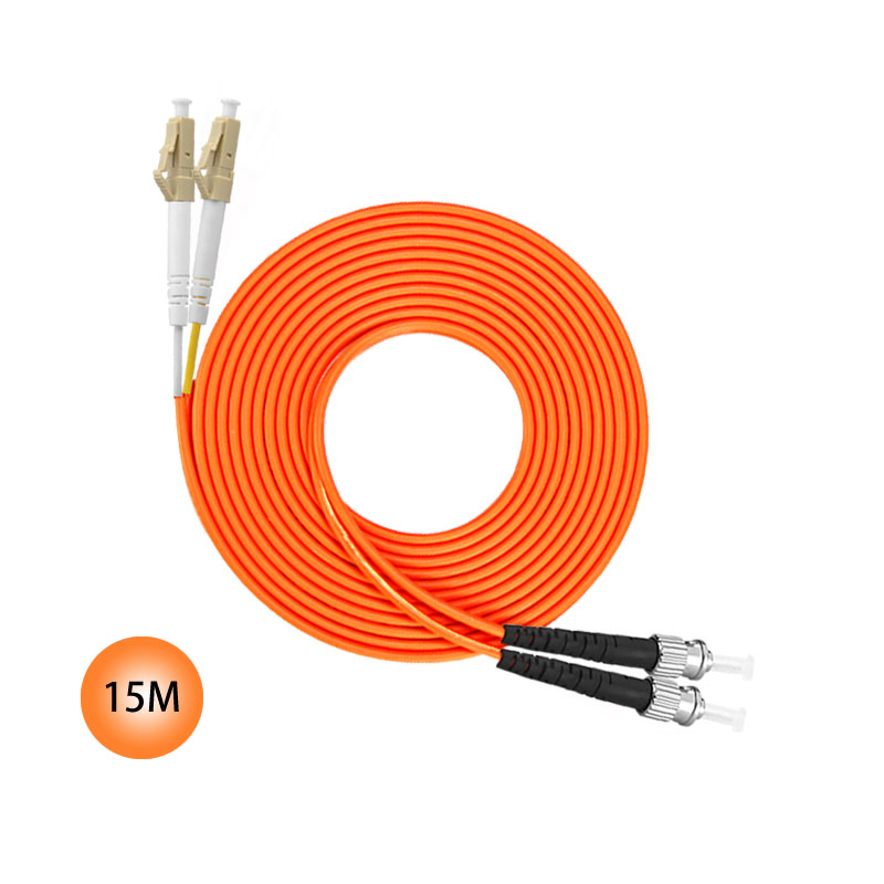 LC to ST 50/125 Multimode Duplex Plenum Fiber Patch Cable 15M Jumper Cable 50 Microns UPC Polish Orange OFNP Jacket OM2