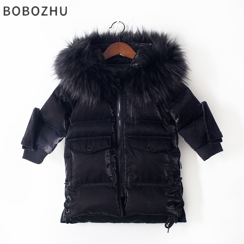 bobozhu Boys Duck Down Long Parka Winter Real Raccoon Fur Collar Detachable Gloves Decoration Girls Warm Coat White Goose Down 100% white duck down women coat fashion solid hooded fox fur detachable collar winter coats elegant long down coats