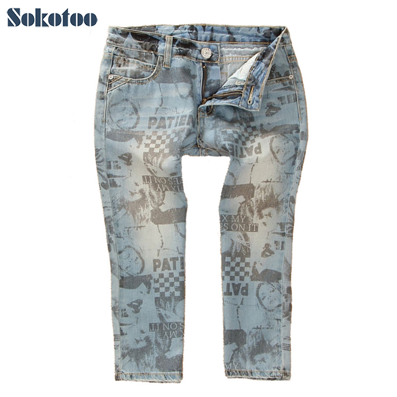 Sokotoo Women's fashion cotton water wash denim capris Letters beauty print jeans Summer shorts Free shipping
