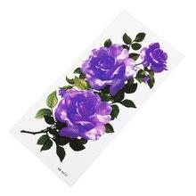Яркие фиолетовые цветы водостойкий боди-арт Временные татуировки Цветочные наклейки Красота Здоровье Декорации для тела, рук сексуальные бедра женщины девушки