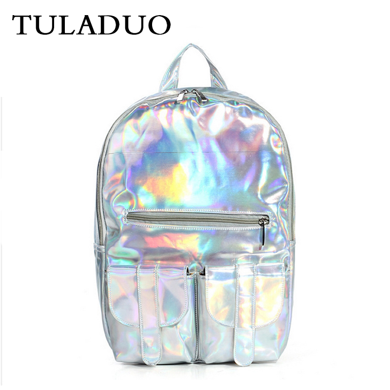 Tuladuo Women Hologram Leather Backpack Holographic Transparent Backpacks Sac a Dos School Bag For Teenagers Travel