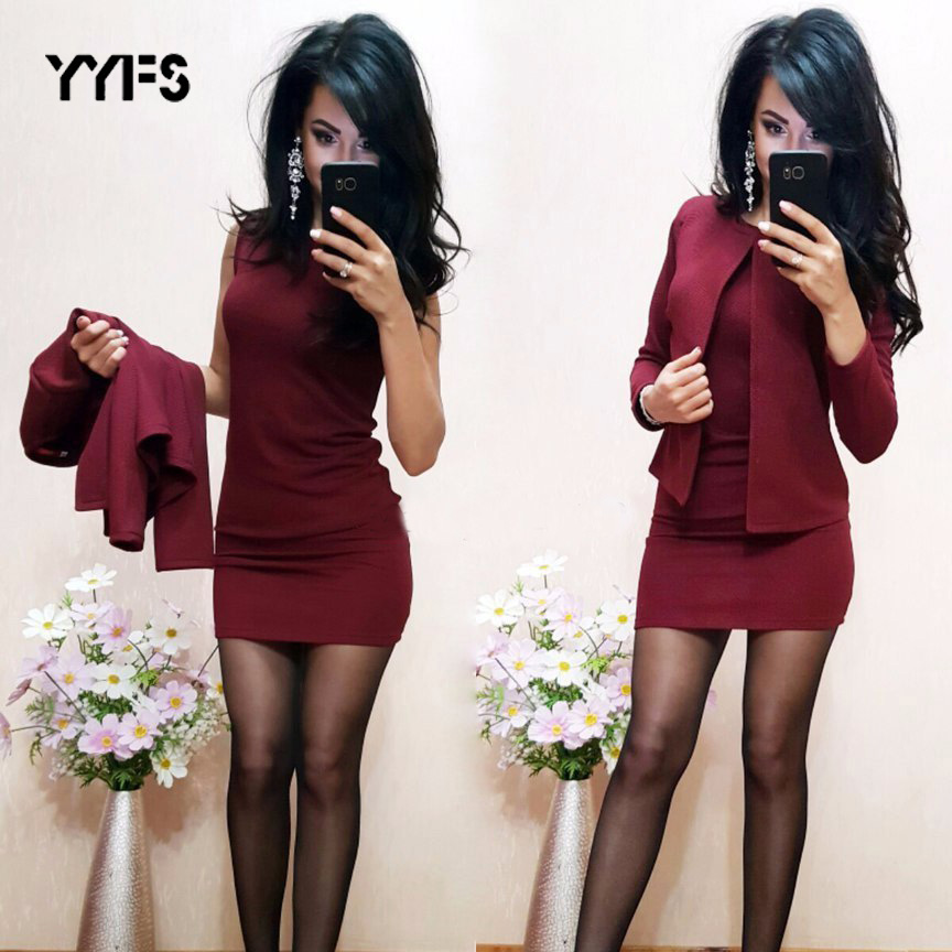 YYFS Suits Dress Womens Sexy Sheath O-Neck Mini Dress Casual Coat Two Pieces 2019 New Elastic Force Garnitur Damski Sets Blazer
