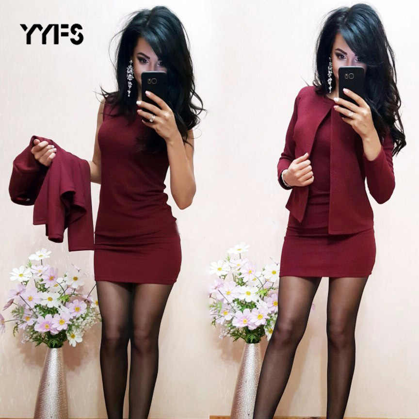 YYFS Twee Stuks Womens Sexy Schede O-hals Mini Jurk + Casual blazer Suits formele 2019 Nieuwe Mode Slanke Carrière Set trajes mujer